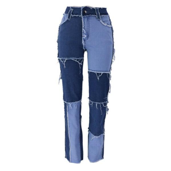 Snygga sömmar kontrasterande jeans lösa casual byxor kvinnor
