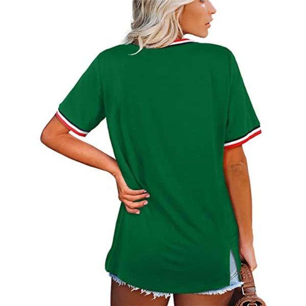 Snygg sommar dam T-shirt med V-ringning och solros Green 3XL