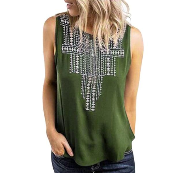 Snygg damtryckt ärmlös T-shirt med rund hals, avslappnad topp Green L