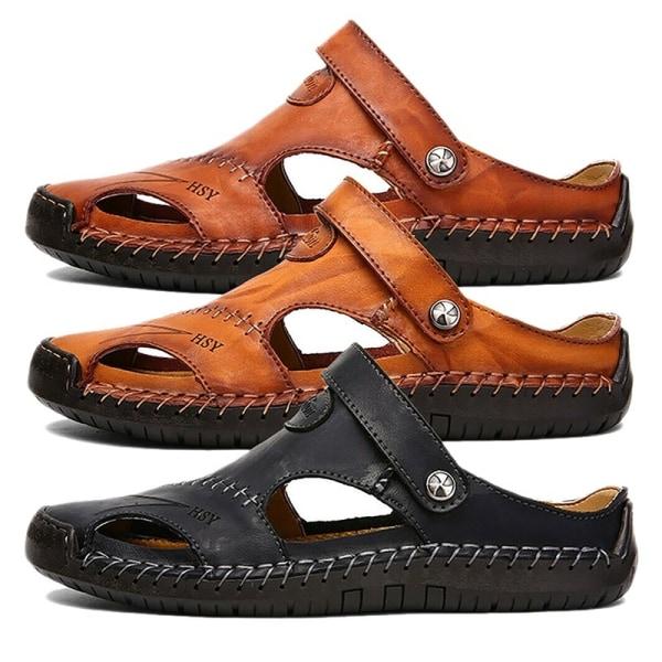 Sommar män läder sandaler sömmar stängd tå brown 41
