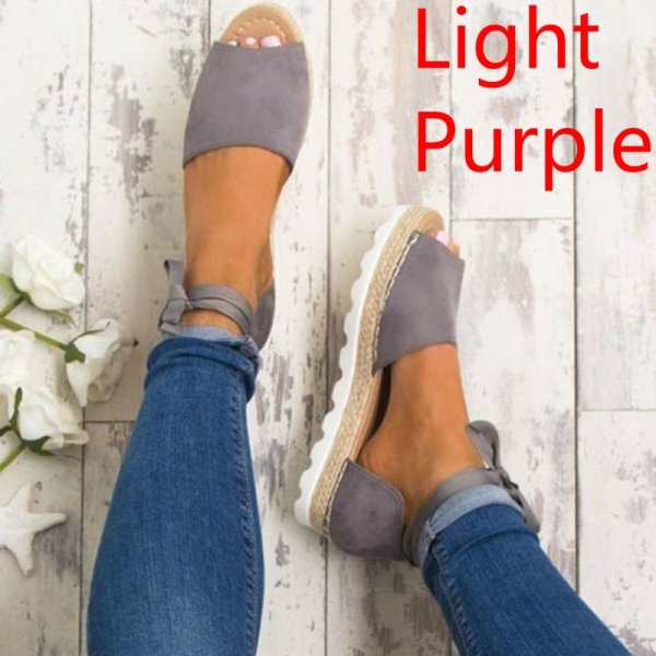 Summer New Women Fashion Ankle Strap Sandals lightpurple 38