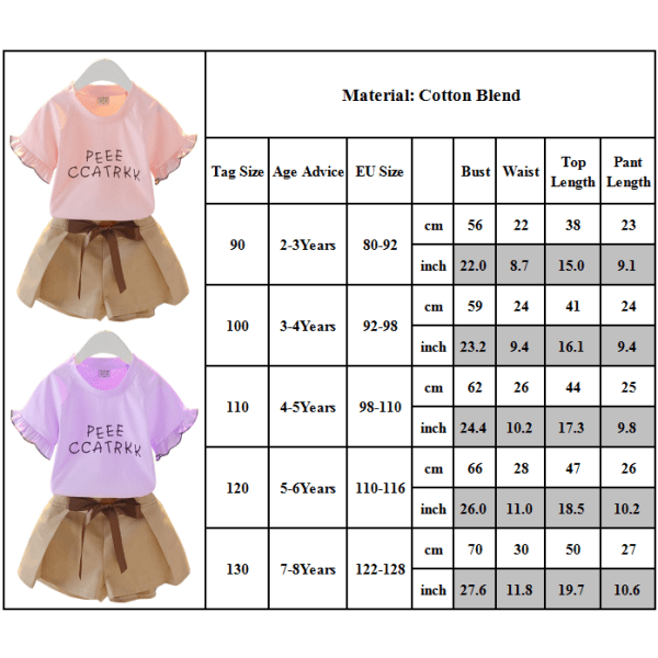 Småbarnflickor kläder enfärgade bokstäver Sommardräktuppsättning Purple 120CM