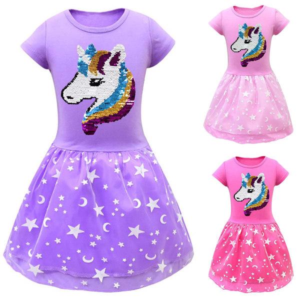 Unicorn rundhalsad kortärmad klänning för söta tjejer Rose red 110CM