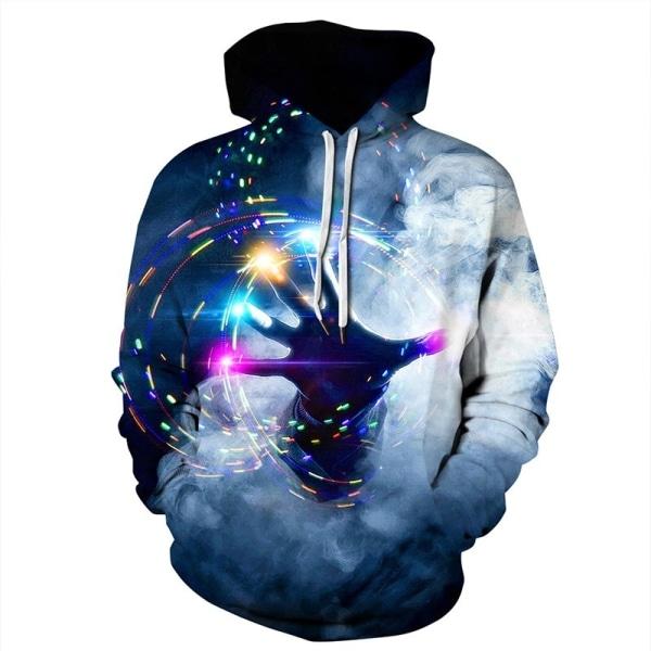 Unisex 3D Digital Halloween Sweatshirt Long Sleeve blue S&M