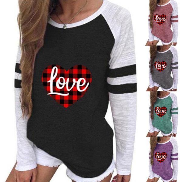 Alla hjärtans dag kärlek tryck rund hals T-shirt långärmad kvinnor Green M
