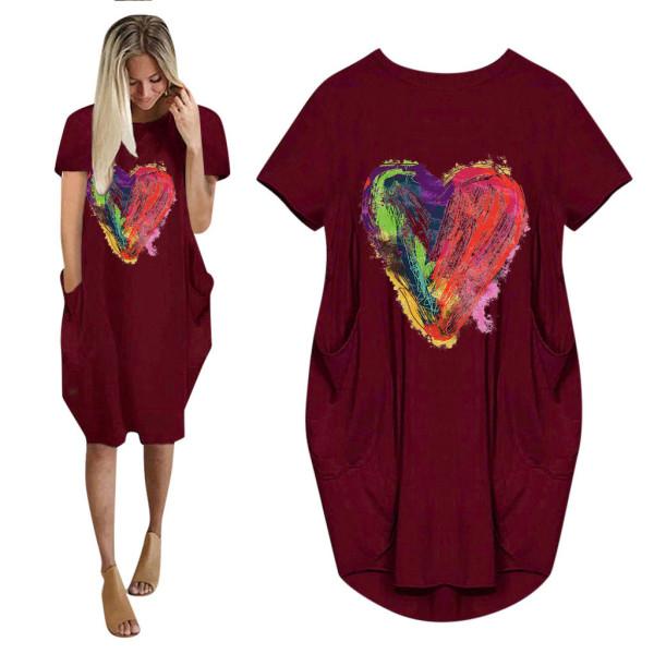 Alla hjärtans dag kärlek tryck kortärmad klänning rund hals gåvor