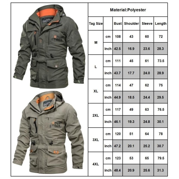 Waterproof Coat Windproof Warm Lightweight Hooded Zipper khaki 4XL