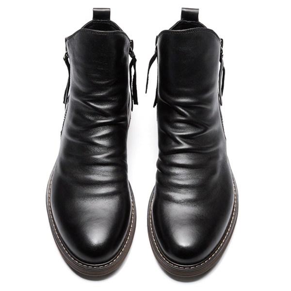 Winter Fur Men Snow Boots Zipper Tassel Boots Black 43