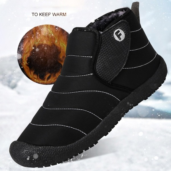 Men's Warm Snow Ankle Boots Fur Lined Winter Windproof Shoes blue 48