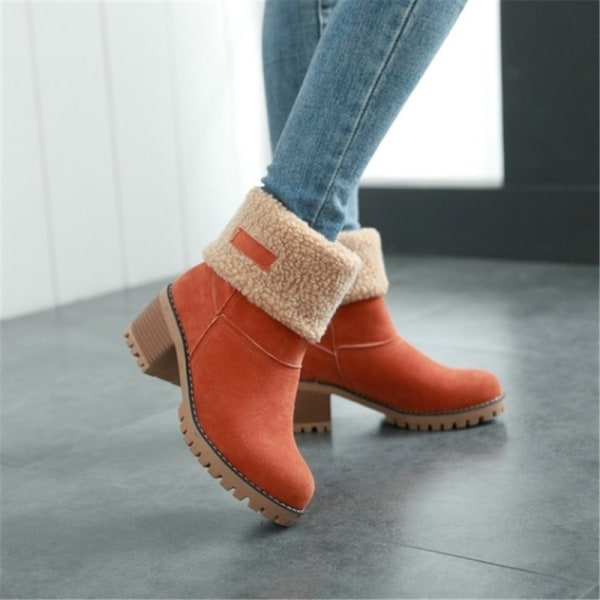 Winter Women Block Heel Foldable Snow Boots camel 42
