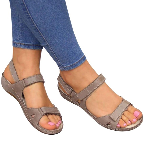 Woman 2020 Summer Leather Vintage Sandals Buckle Grey 40