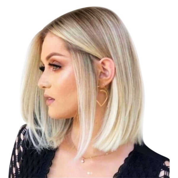 Woman Gradient Light Gold Straight Hair Soft Wig Protable