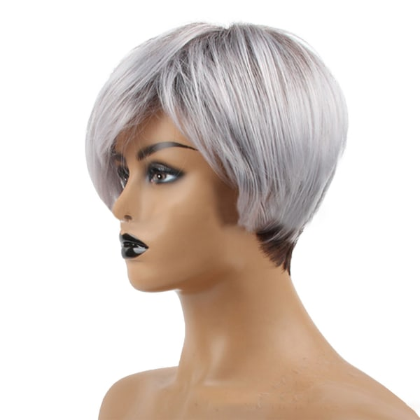 Kvinna tonad silvergrå peruk mode personlighet kort hår
