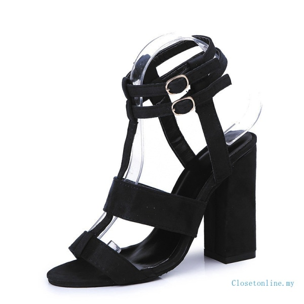 Women Ankle Strap High Block Heels Open Toe Strappy Blue 36
