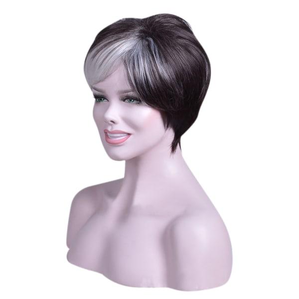 Kvinnors andningsbara snygga pärlor Kort peruk Temperament människohår