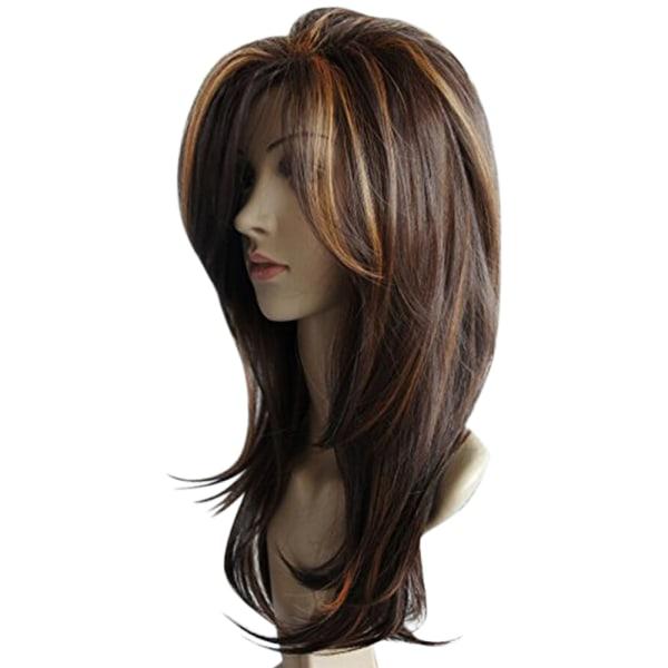 Kvinnor Brun blandad färg Mellanlång hårperuk Slät andningsbar