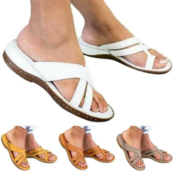 Kvinnor Casual Toe Ring Flat Slider Sandal Sommarsemesterstrand Brown 38