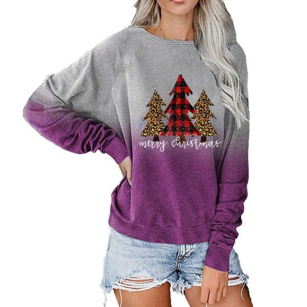 Kvinnors julgradient T-shirt Sweatshirt Xmas Pullover Top Purple M