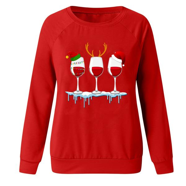 Kvinnors jul Santa långärmade T-shirts Blus Xmas Top Red S