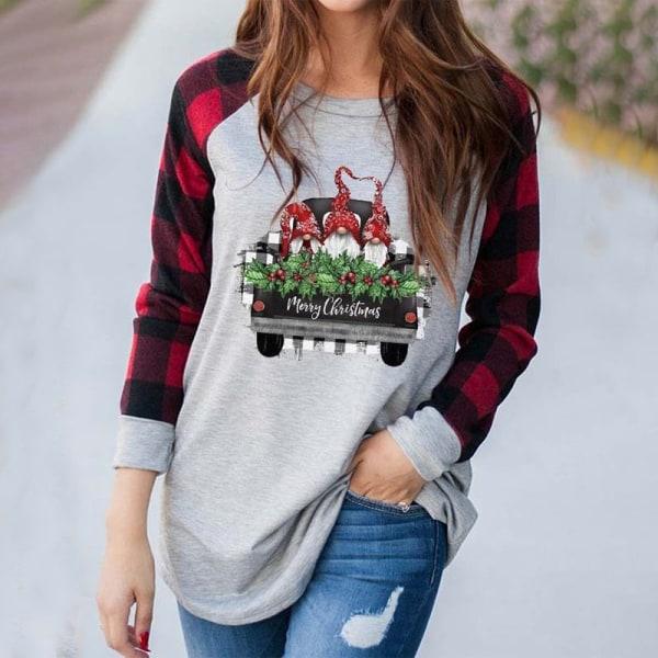 Women Christmas Xmas Ladies Plaid Long Sleeve Blouse Casual Tops L