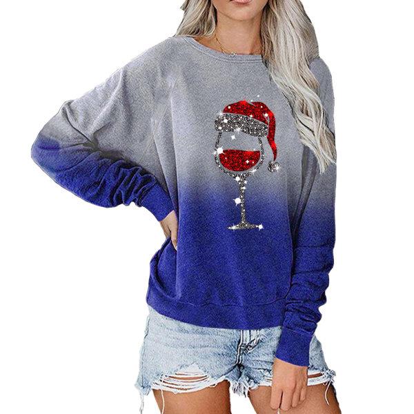 Kvinnors jul Xmas långärmad T-shirt Sweatshirt Pullover Top