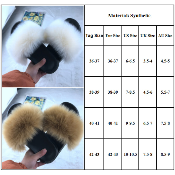 Women Comfy Fluffy Faux Fur Flat Sliders Slippers Sandals Black Frost 42-43