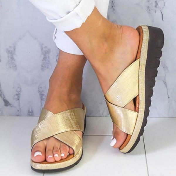 Kvinnor Cross Criss Sandaler Open Toe Platform