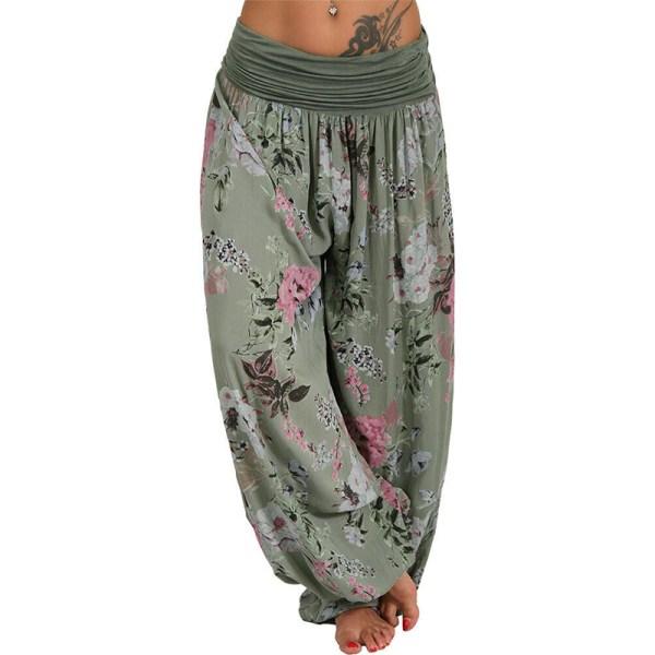 Women Digital Printing Floral Long Wide Leg Casual Pants Harlan Green 5XL
