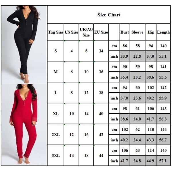 Women Fashion Slim Fit Jumpsuit Sexy Nightwear Warm Homewear Black M