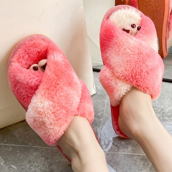 Women Faux Fur Fluffy Flat Slippers Rainbow Slip On Shoes Red 42-43