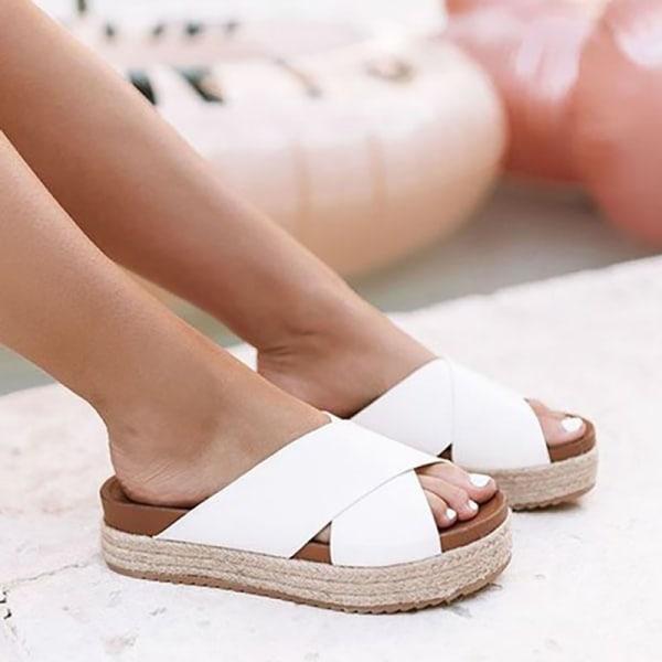 Women Faux Leather Platform Slide Sandals brown 37