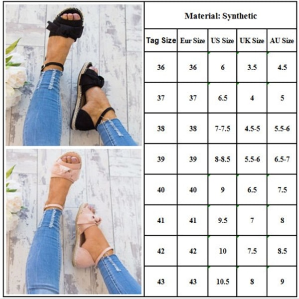 Women Flat Open Toes Slingback Shoes Pink 36