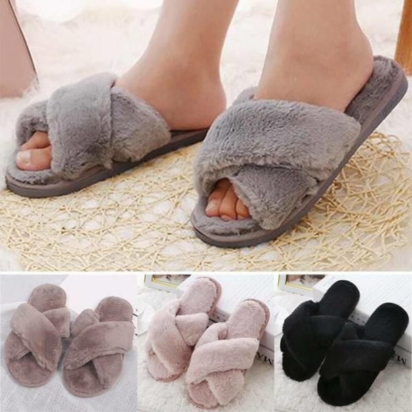 Women Fluffy Faux Fur Flat Cross Strap Soft Casual Sandals Shoes Khaki 36-37