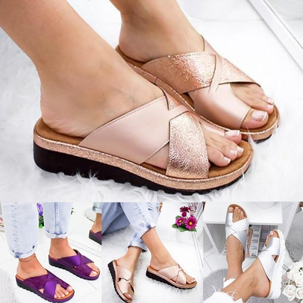 Women Glitter Cross Criss Open Toe Slip rosegold 36