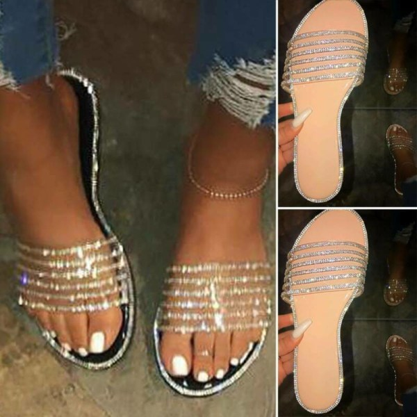 Women Glitter Flat Slippers Sandals Summer Holiday Casual Shoes Beige 38