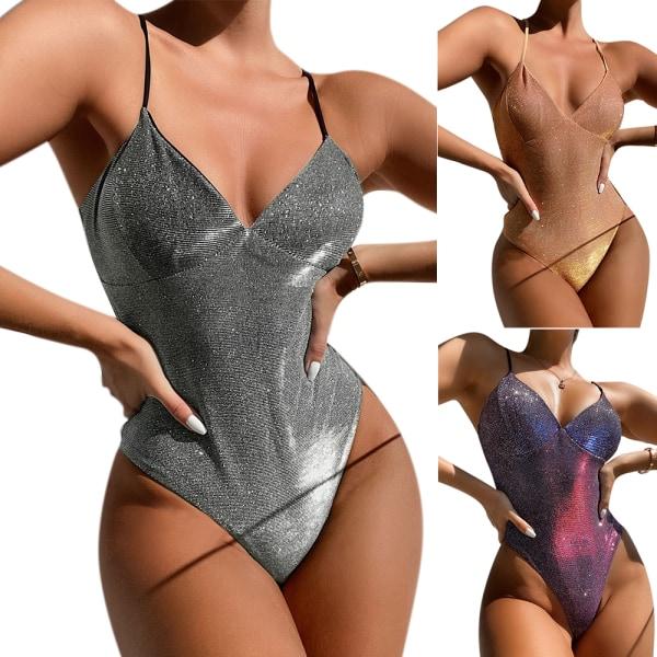 Kvinnor Gradient One-Piece Thin Sling Baddräkt Beach Sexig Bikini Gray L