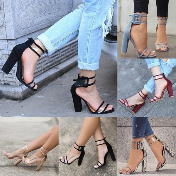 Women High Square Heels Sandals New Open winered 40