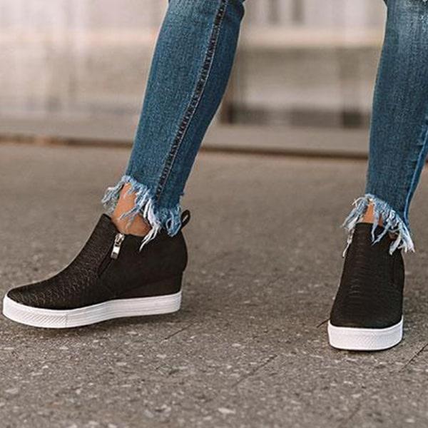 Women Hot Latest Zipper Plaid Shoes Girls brown 36