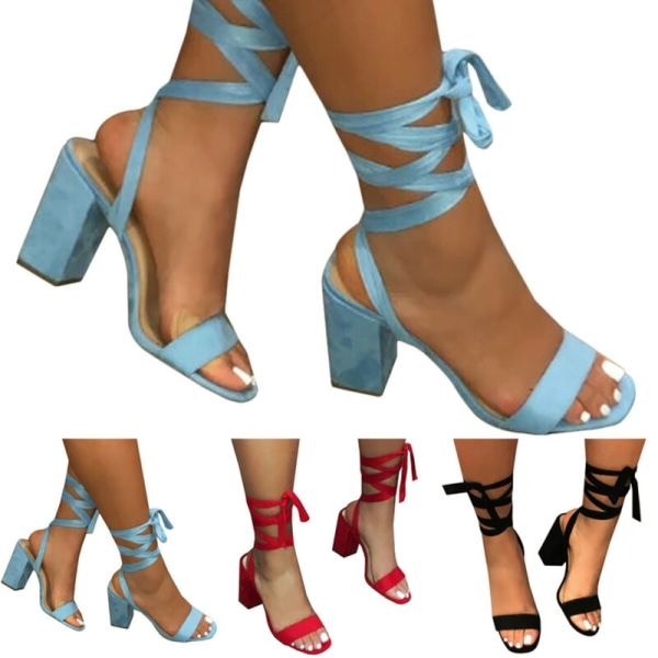 Women Lace Up Strappy Gladiator Block High Heels Blue 39