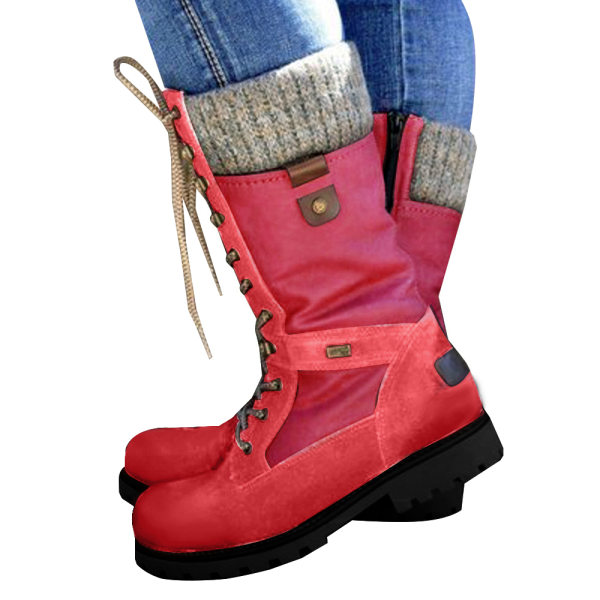 Women Ladies Mid Calf Warm Grip Sole Boots Lace Up Flat Shoes Red 36
