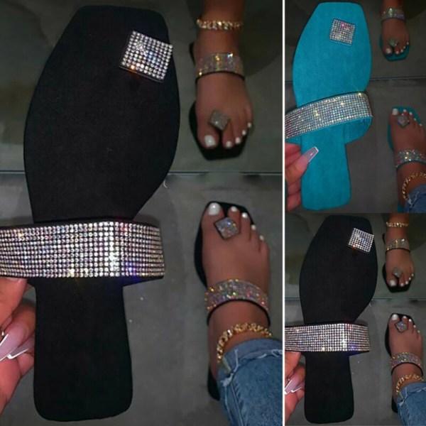 Women Ladies Rhinestone Flip-Flop Summer Casual Flat Black 41