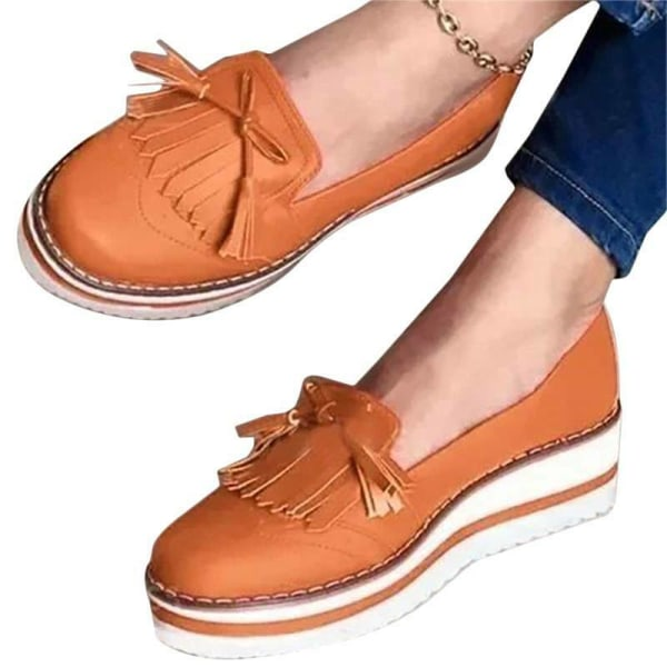 Women Laides Round Toe Fringe Single Slip On Flats Shoes Pink 36