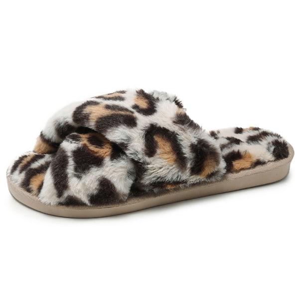 Women Leopard Print Faux Fur Fluffy Flat Slippers Slip On Shoes Beige 36-37