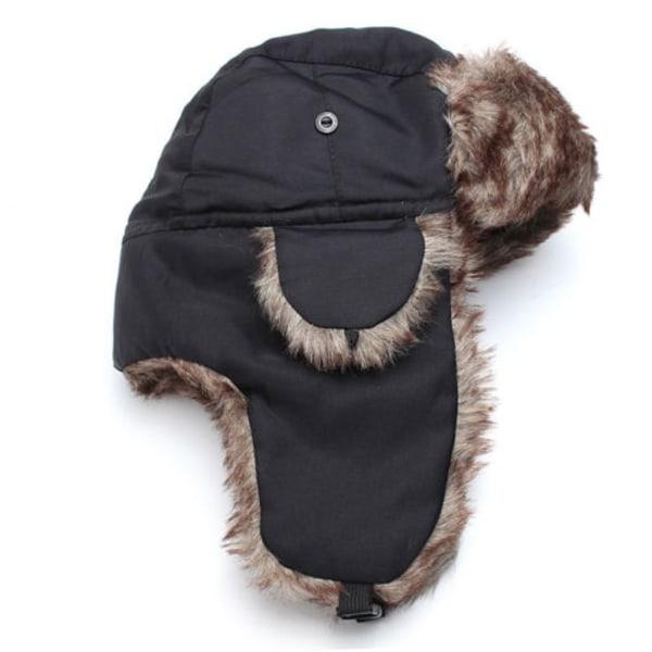 Men Stylish Plush Fur Hat Thick Breathable All-match Winter Black