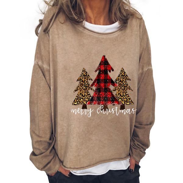 Kvinnor god jul Tre träd Pullover Casual tröjor Khaki XL