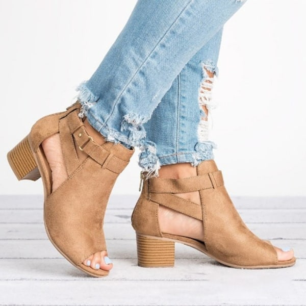 Women Open Toe Cutout Heeled Sandals Ankle brown 40