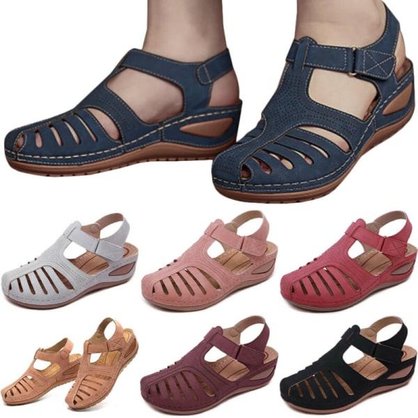 Kvinnor ortopediska platta sandaler Wedge Comfy Summer Beach Purple 41