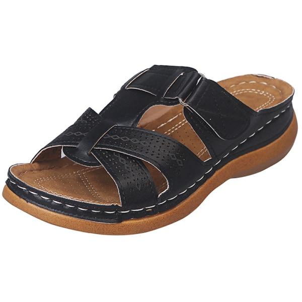 Women Orthopedic Sandals Comfy Non-slip Flat Shoes Black 36