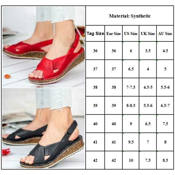 Women Peep Toe Sandals Platform Slingback Beach Casual Summer Black 41