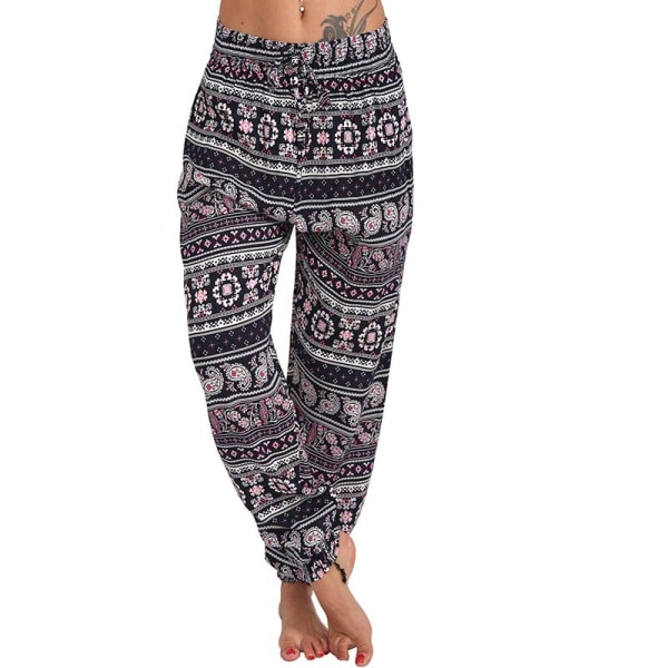 Women Pocket Wide Leg Pants Loose Pants Harem Pants Trousers Pink S